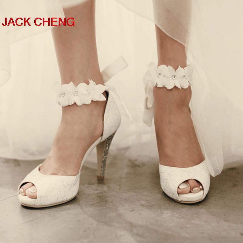 Beautiful Popular White Lace Wedding Shoes Peep Toe Lady Formal