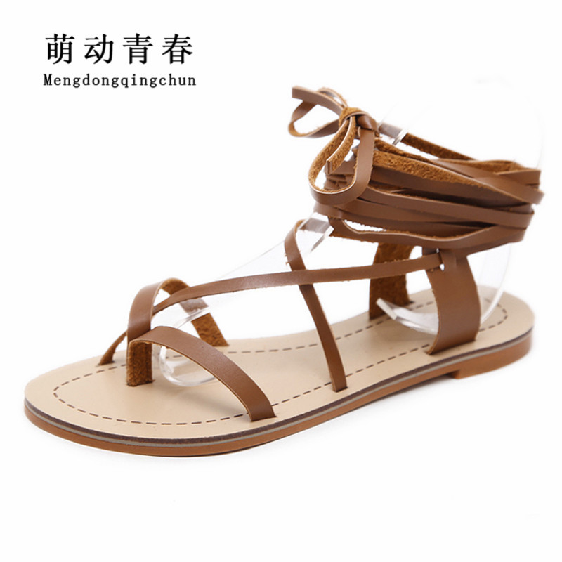 1ecfbd9a51321 2018 New Women Sandals Gladiator Casual Lace Up Flat Sandals Fashion Women  Cross Tie Ankle Strap Flat Heel Summer Sandals